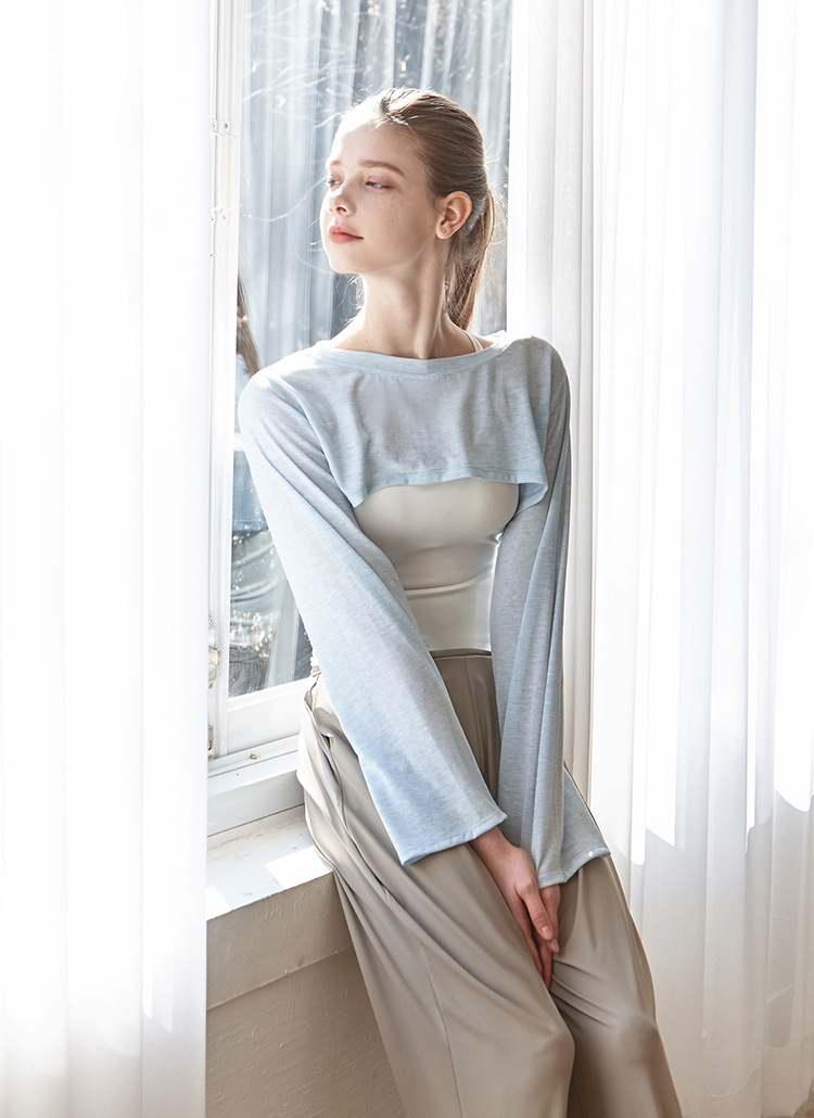 オープンカットTシャツ(スカイ)
