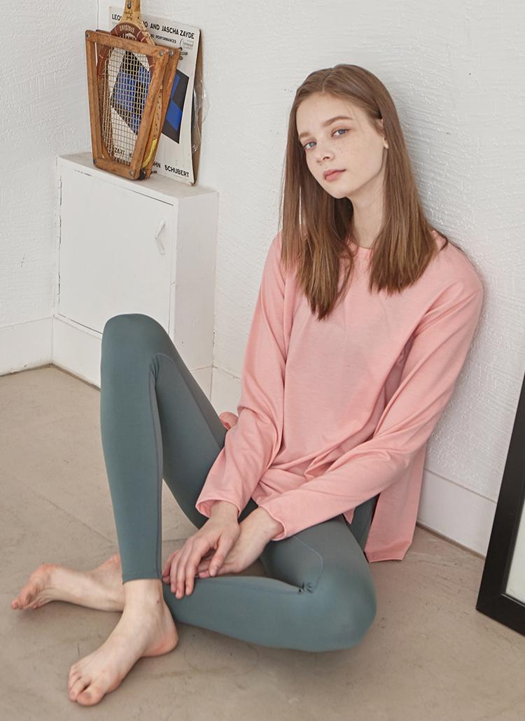 サイドスリットミディTシャツ(ピンク)