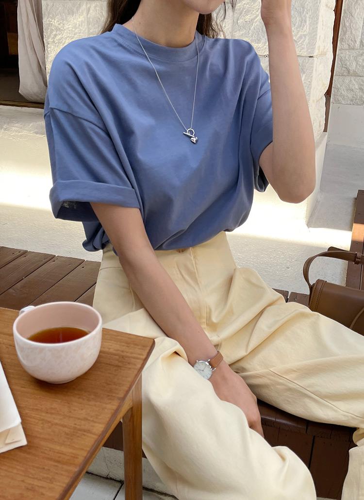 サイドスリットベーシックTシャツ・全8色