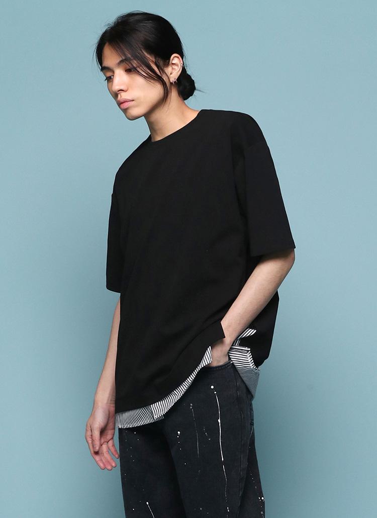 サイドスリットストライプTシャツ・全2色