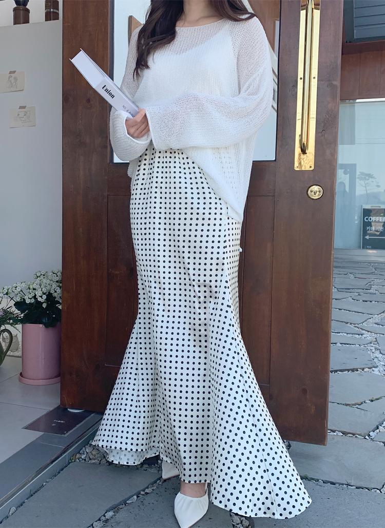 ドットロングマーメイドスカート