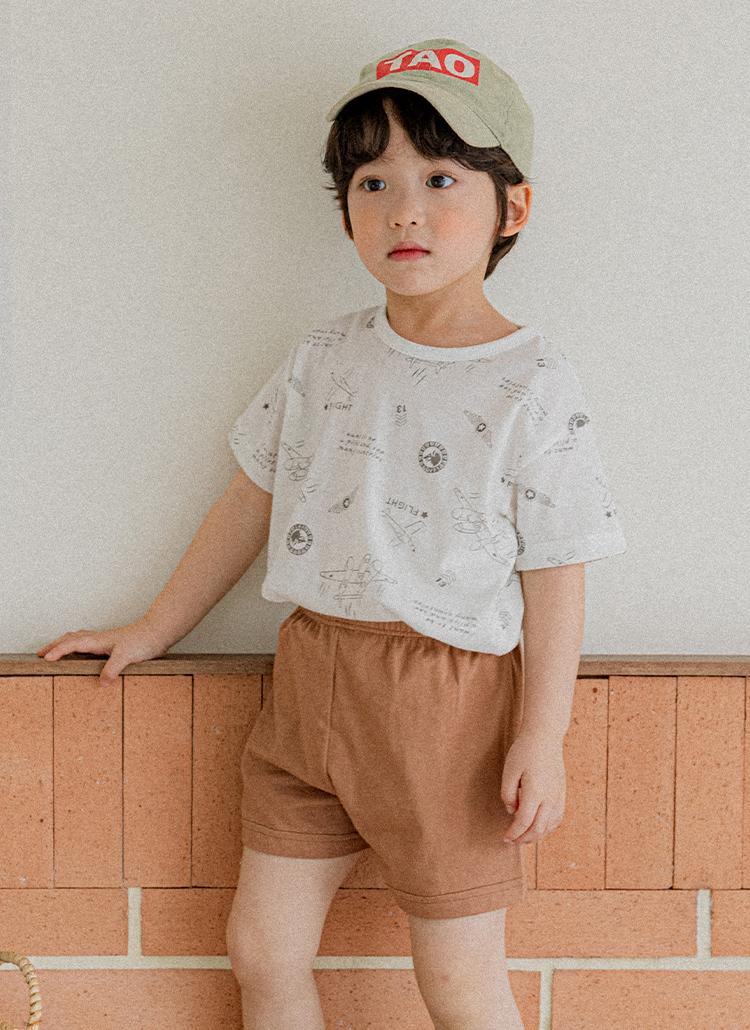 エアプレイン半袖Tシャツ上下SET(brown)