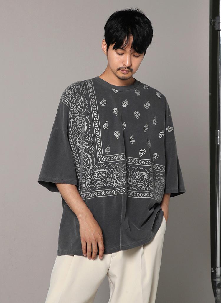 バンダナパターン半袖Tシャツ・全2色