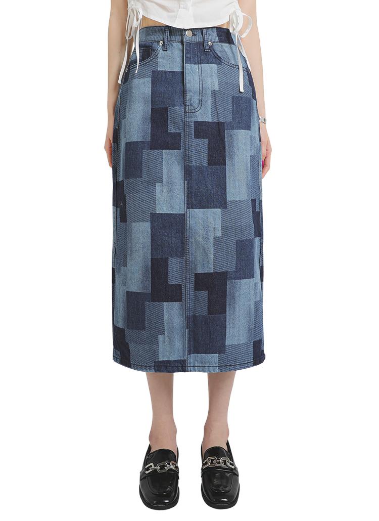 パッチワーク風ロングデニムスカート