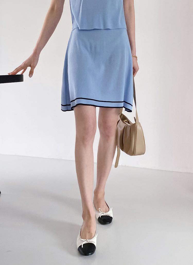 配色Aラインニットスカート・全3色