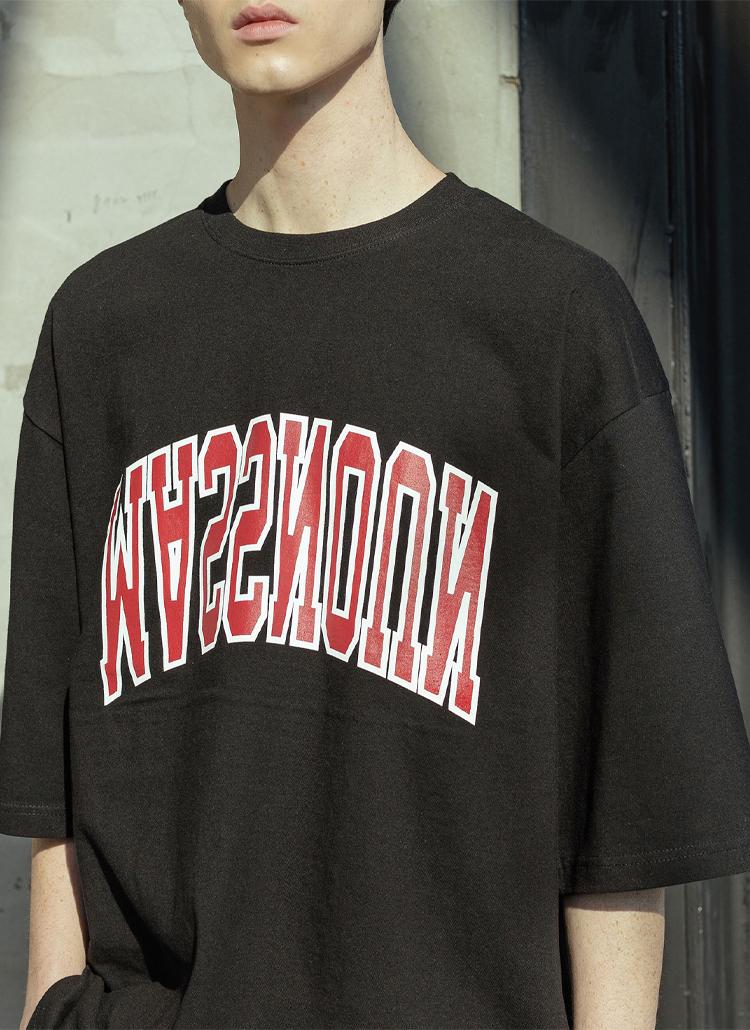 配色ロゴ半袖Tシャツ(BLACK)