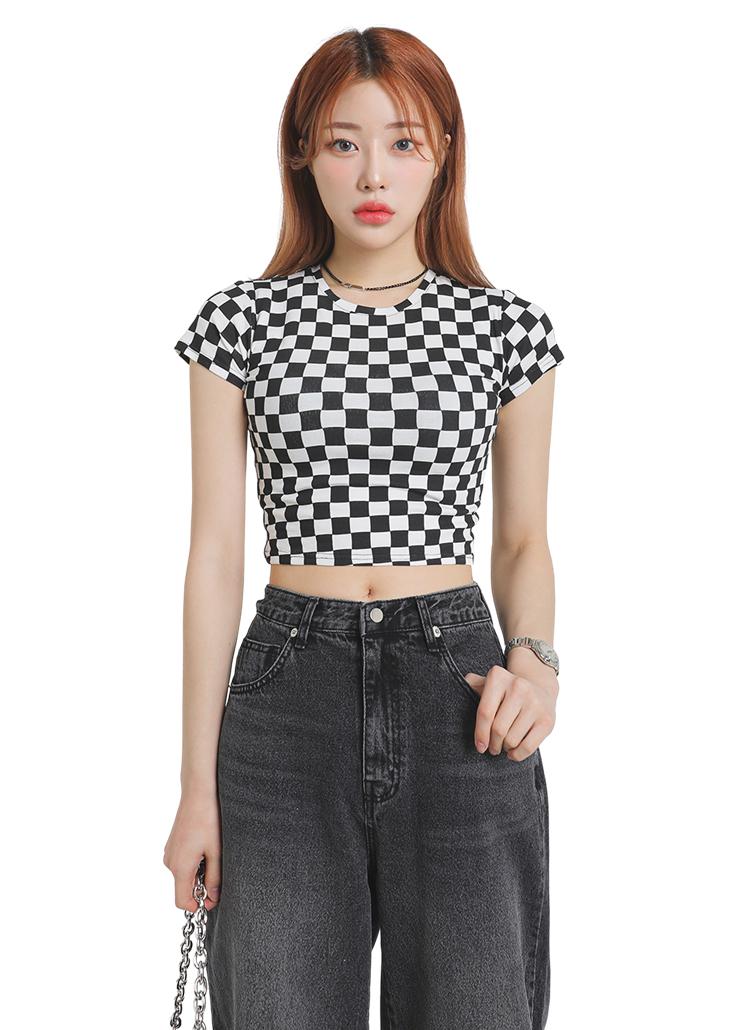 ブロックチェック半袖Tシャツ