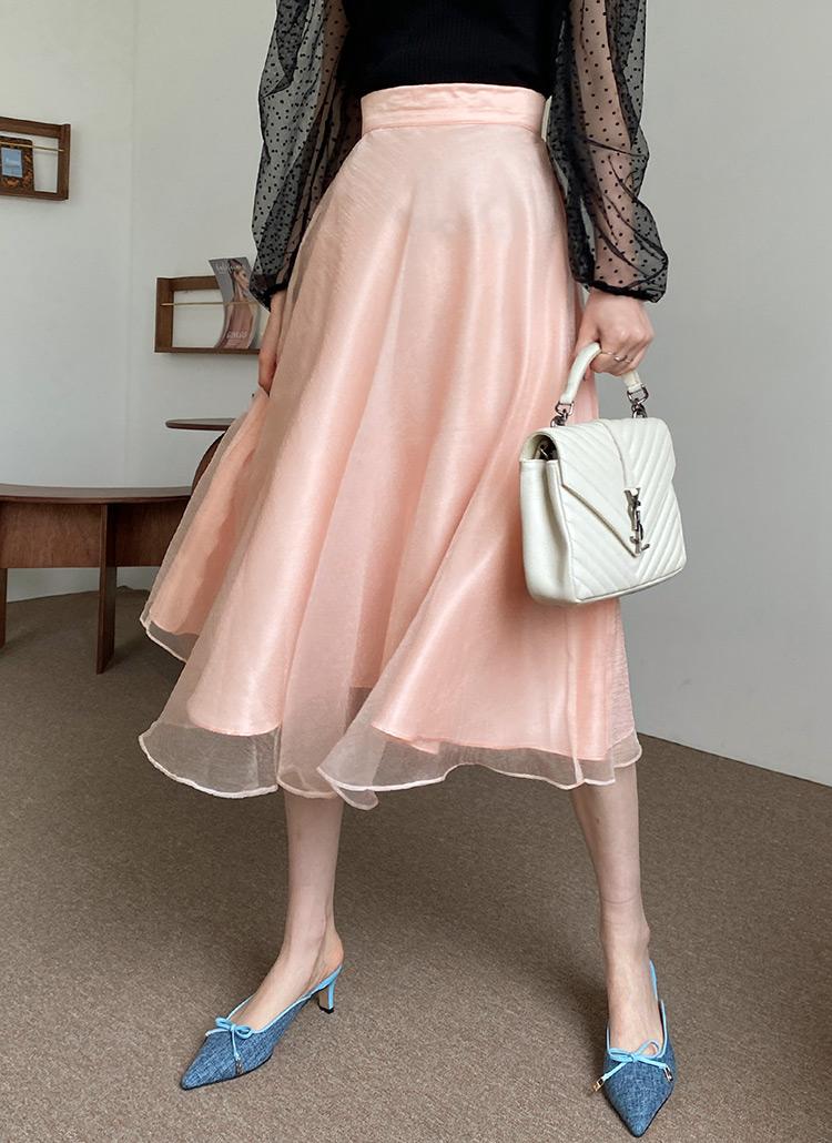 オーガンジーAラインスカート・全2色