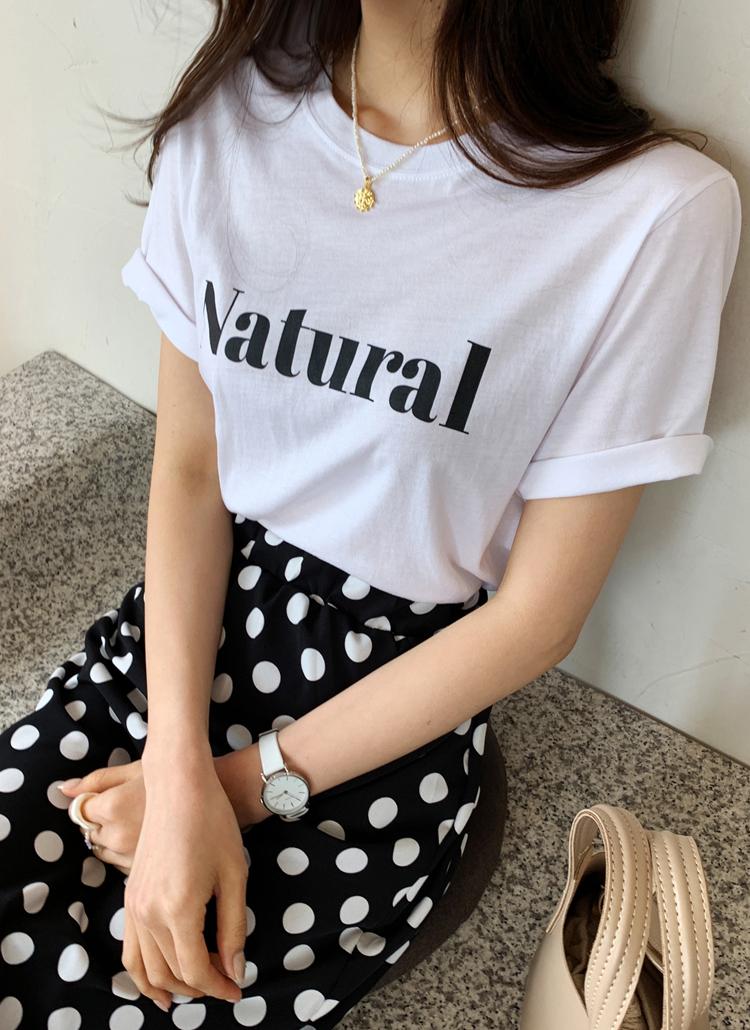 レタリングTシャツ&ドットスカートSET・全1色