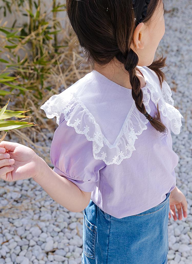 シアーレースカラー半袖Tシャツ(junior)