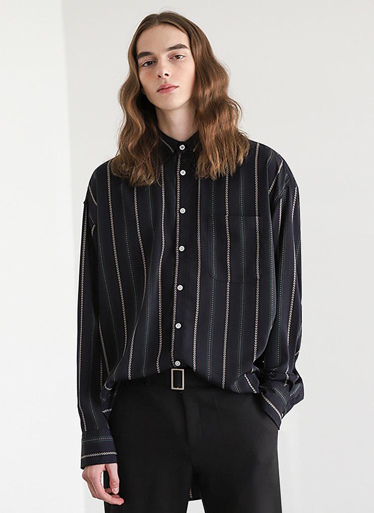 パターンストライプシャツ(ネイビー)