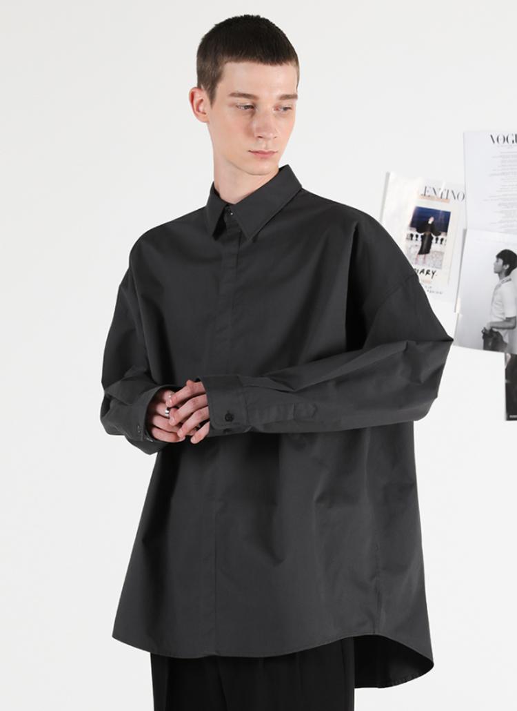 アンバランスフライフロントシャツ(CHARCOAL)