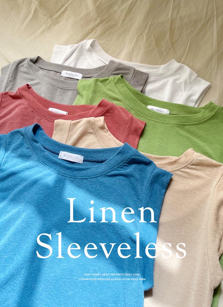 リネン混スリーブレス・全7色
