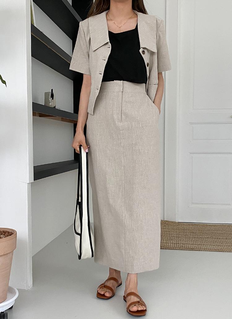リネン混クロップドジャケット&HラインスカートSET・全3色