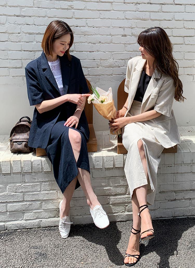 リネン混半袖ジャケット&HラインスカートSET・全3色