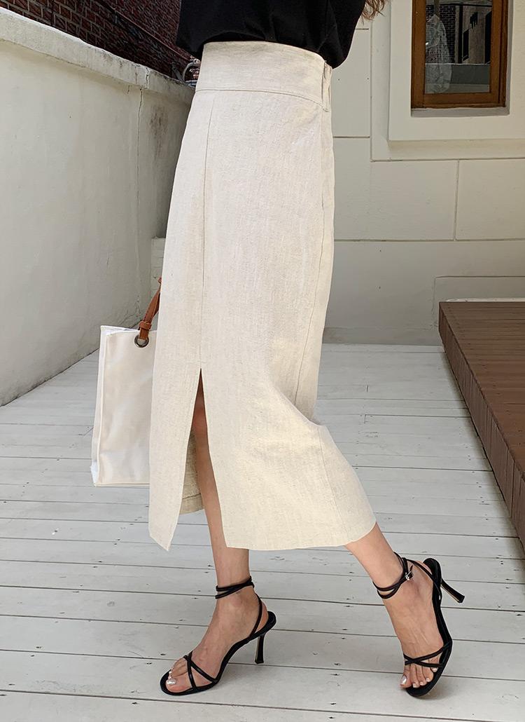 リネン混Hラインスカート・全3色