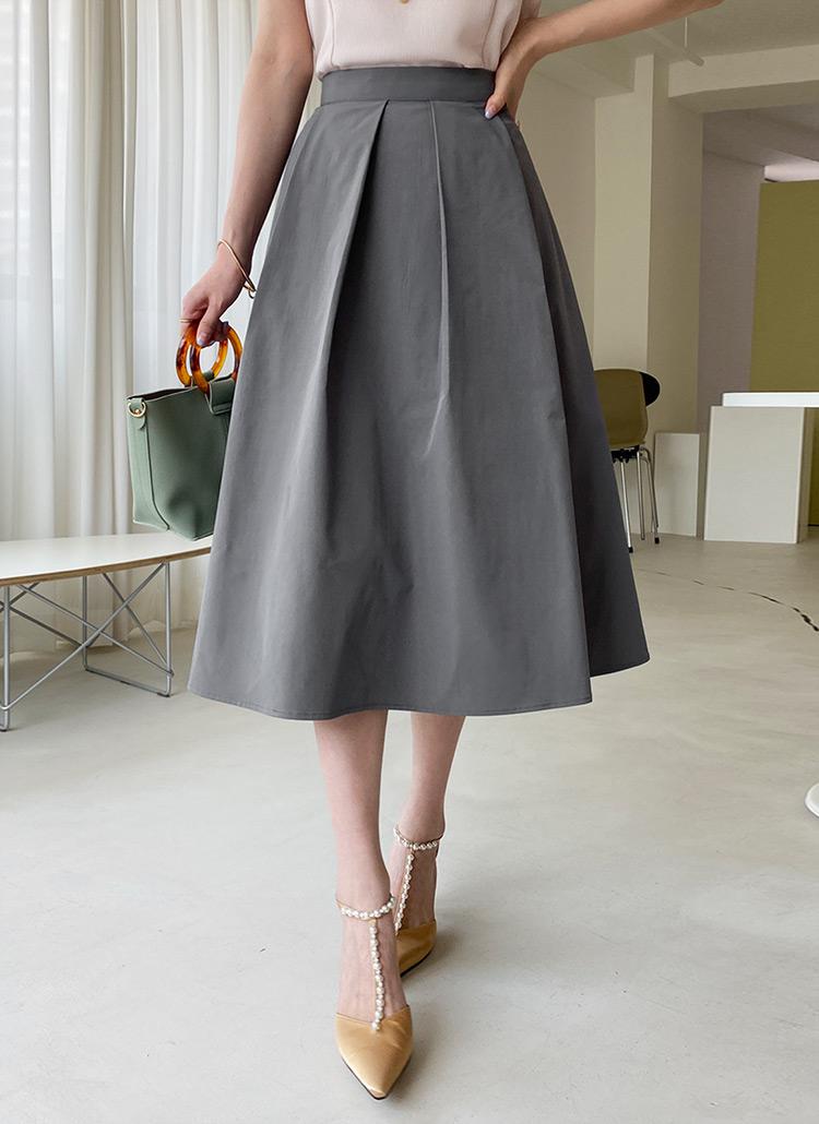 タックフレアミディスカート・全4色