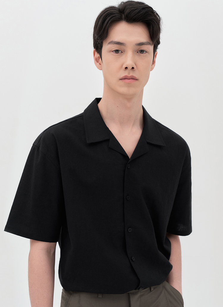 リネン混開襟半袖シャツ(BLACK)