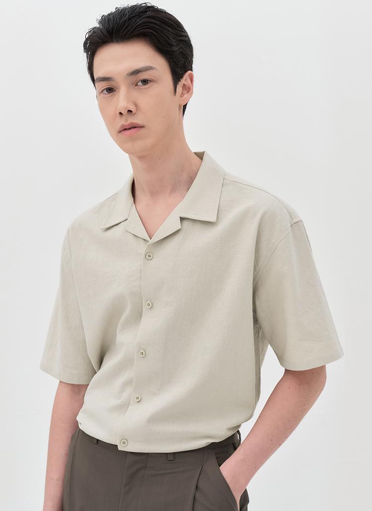 リネン混開襟半袖シャツ(BEIGE)
