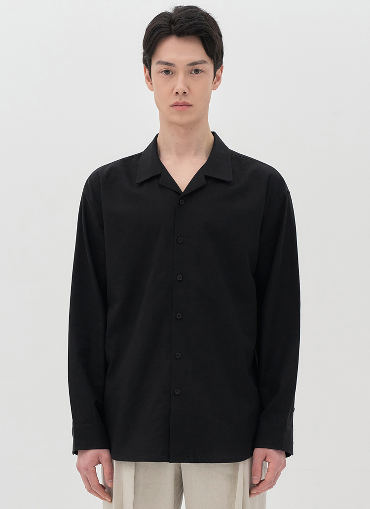 リネン混開襟長袖シャツ(BLACK)