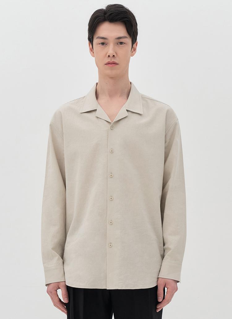 リネン混開襟長袖シャツ(BEIGE)
