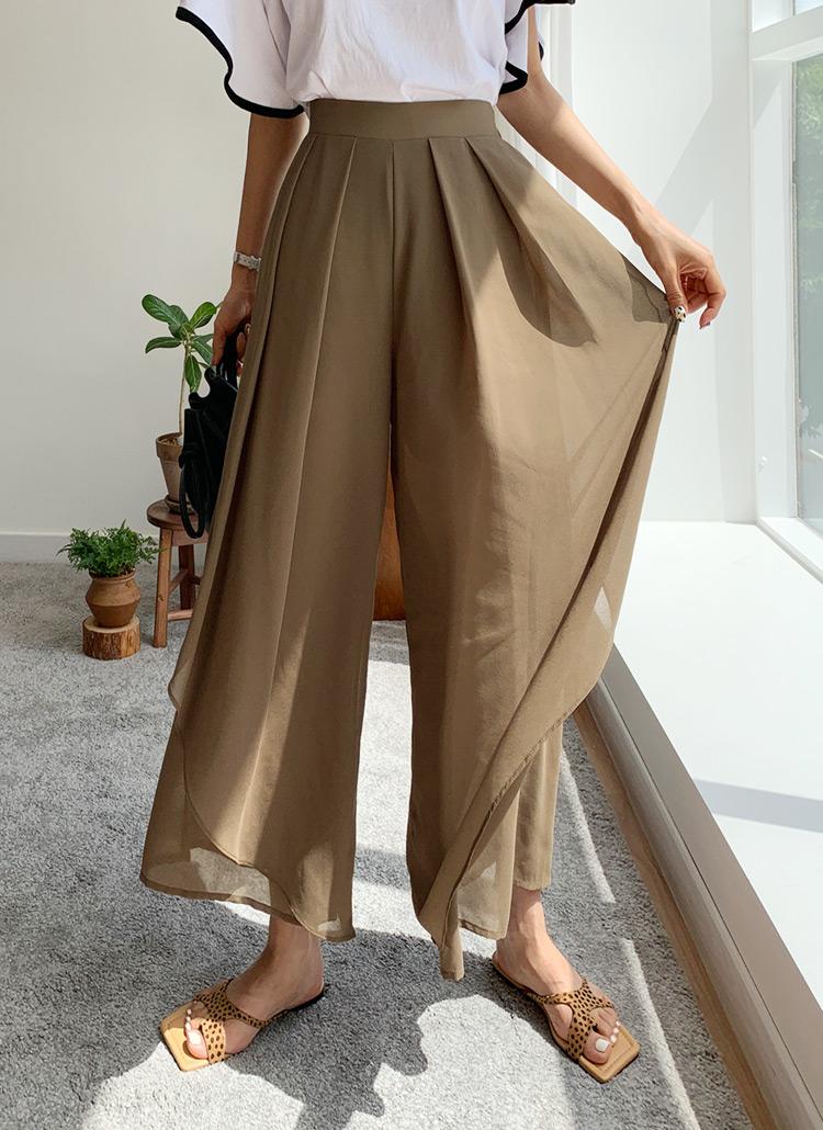 シフォンフレアスカートパンツ・全3色