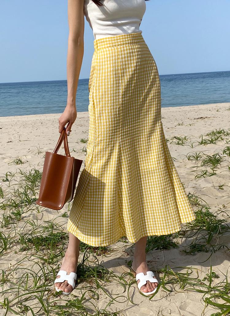 チェックマーメイドスカート・全4色