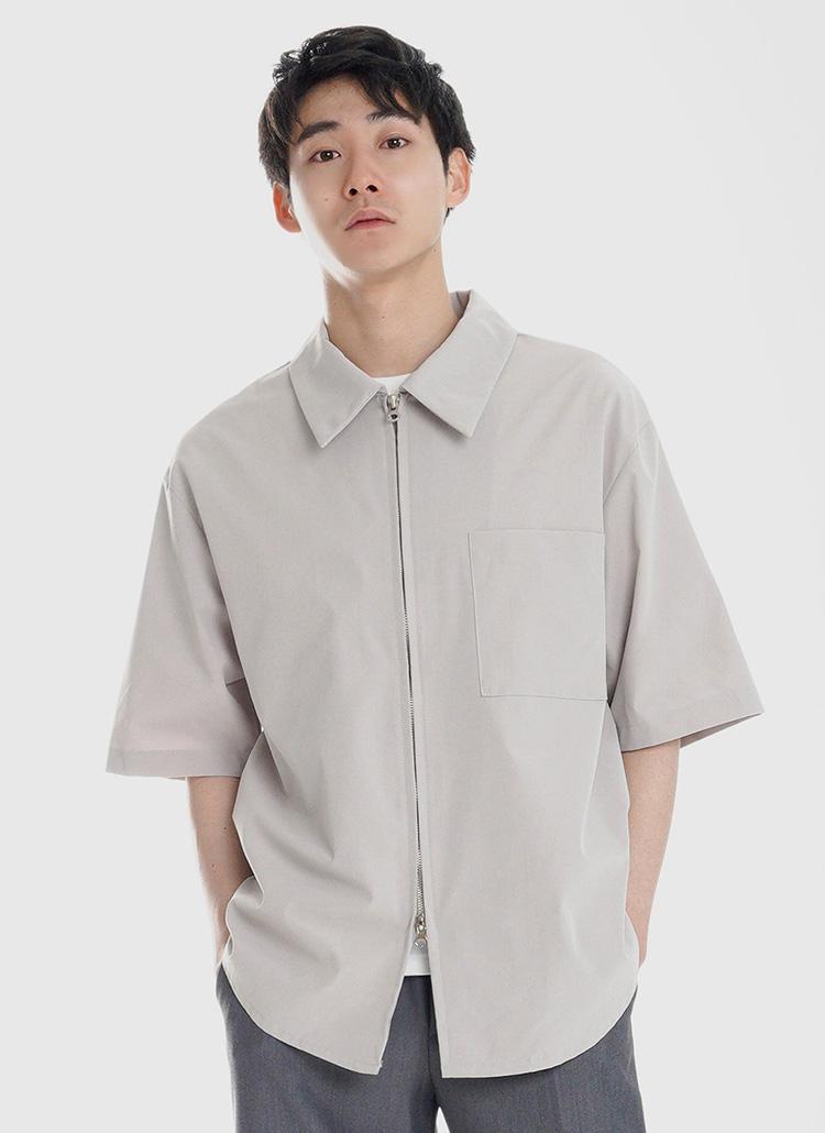 ダブルジップワンポケットシャツ・全2色
