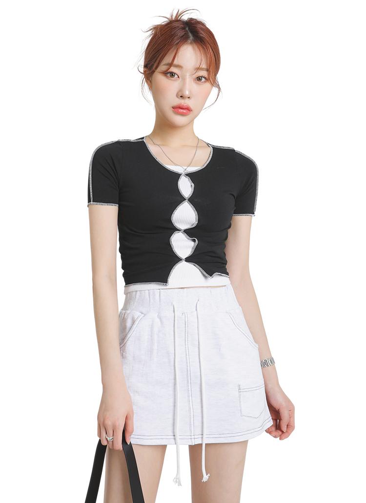 フロントオープンカットスリムTシャツ