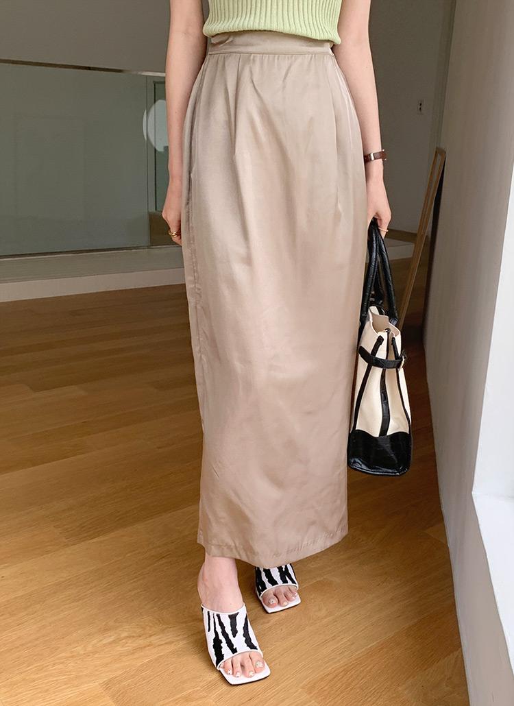 サテンHラインスカート・全4色