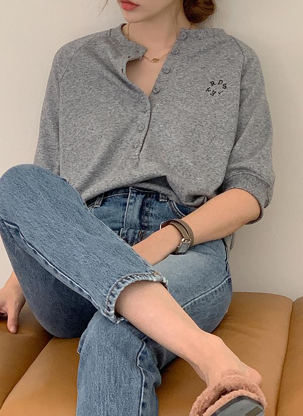 サークル刺繍半袖スウェット(Medium Gray)