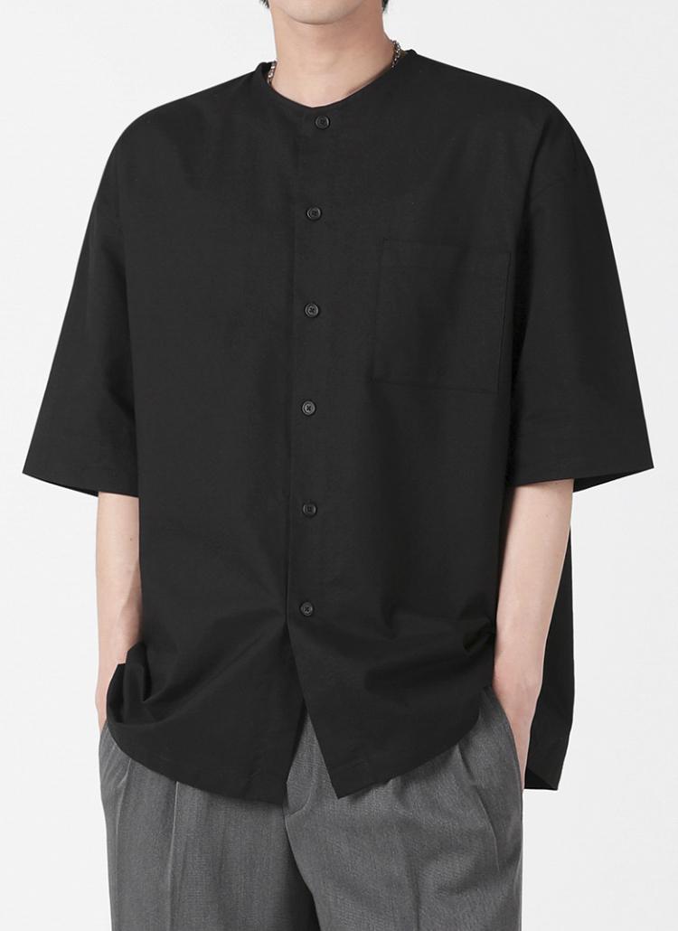 ノーカラーコットンシャツ(BLACK)