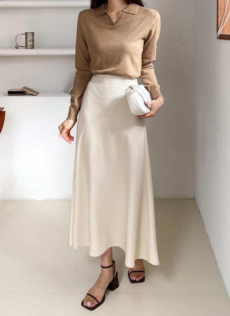 サテンフレアスカート・全4色