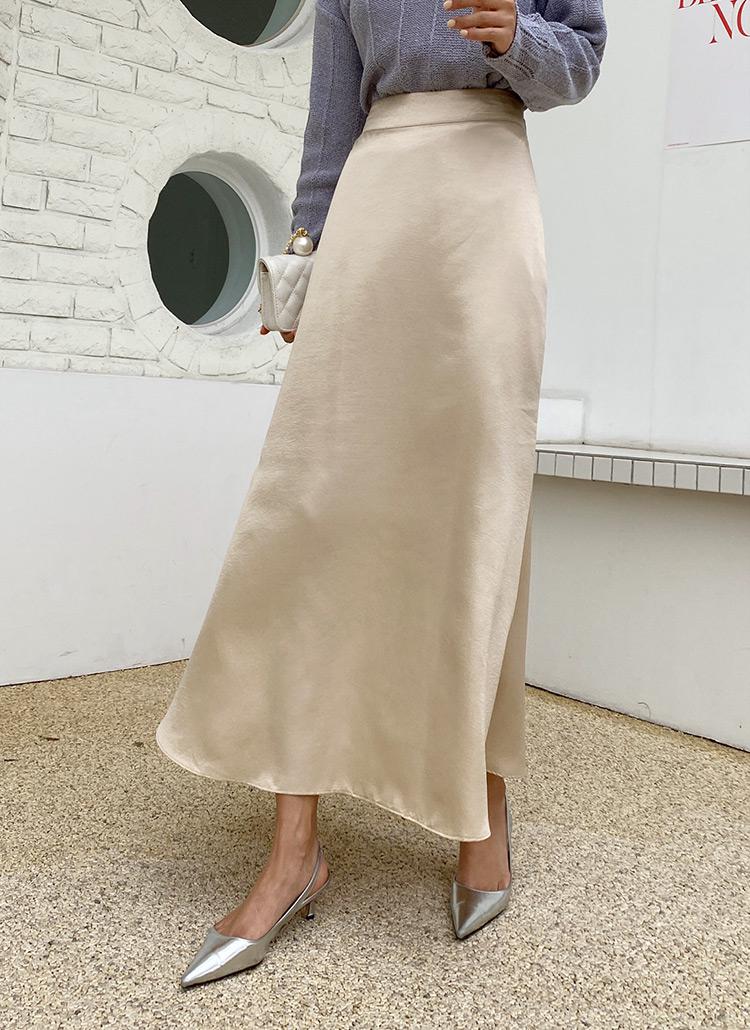 サテンフレアスカート・全2色