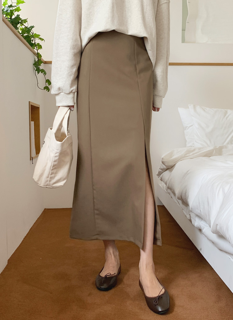 Aラインスリットスカート・全3色