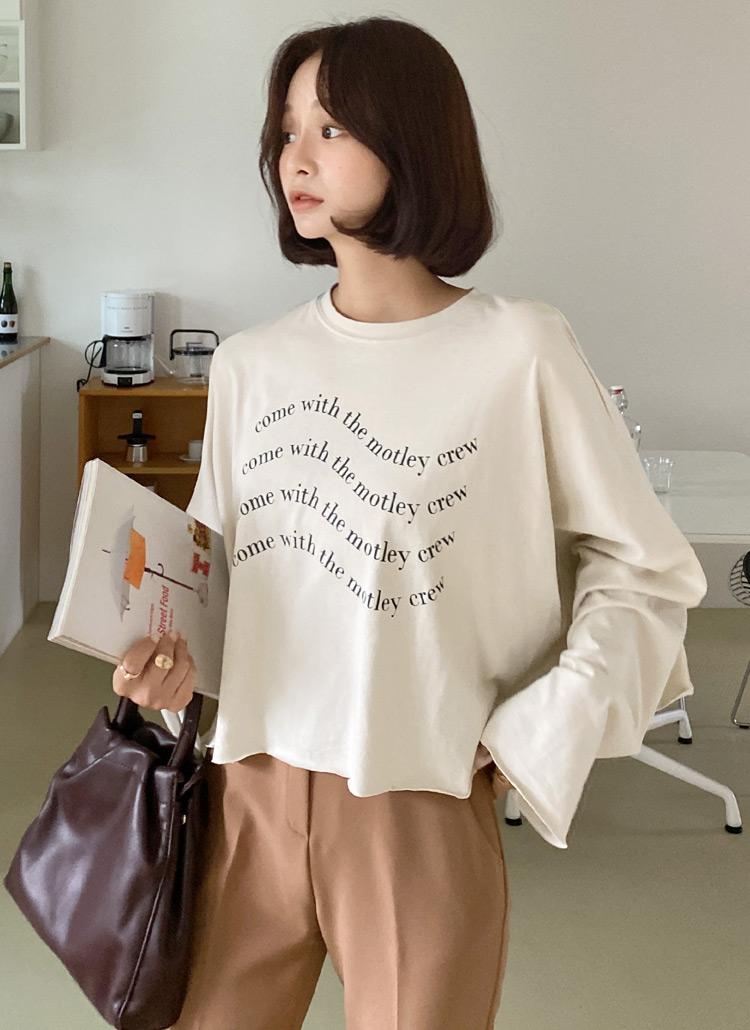 レタリングクロップドTシャツ・全3色