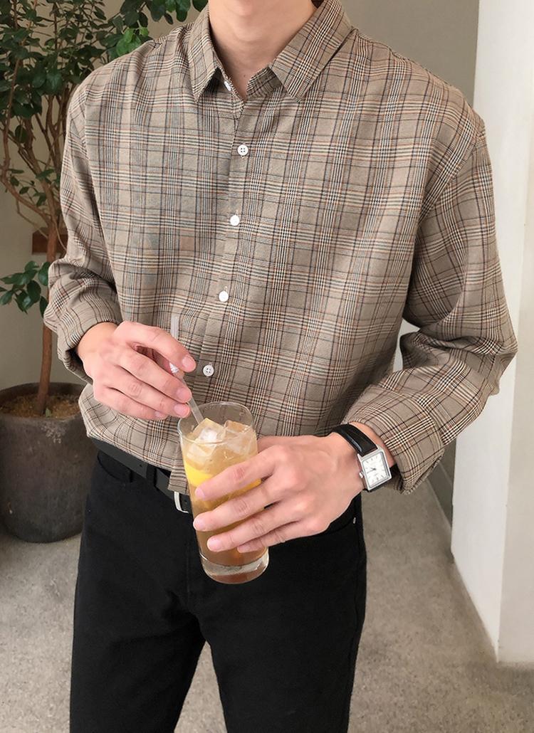 グレンチェック長袖シャツ