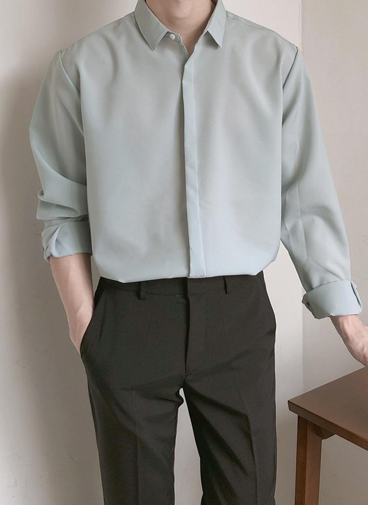 カラーネックフライフロントシャツ