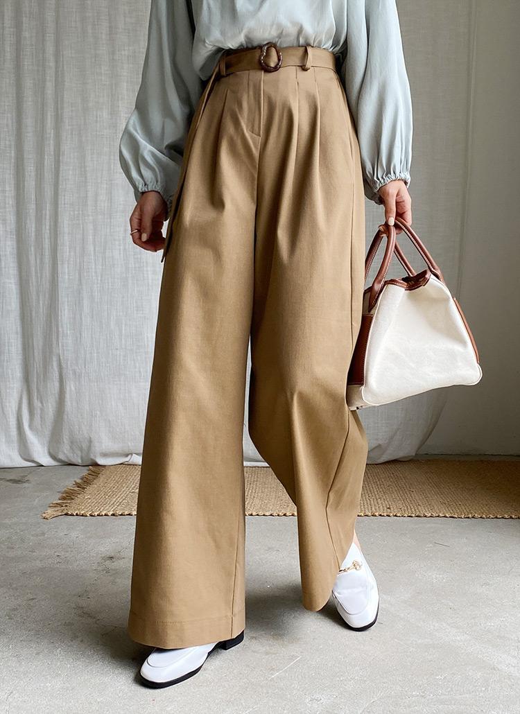 ベルト付ワイドスラックスパンツ・全2色
