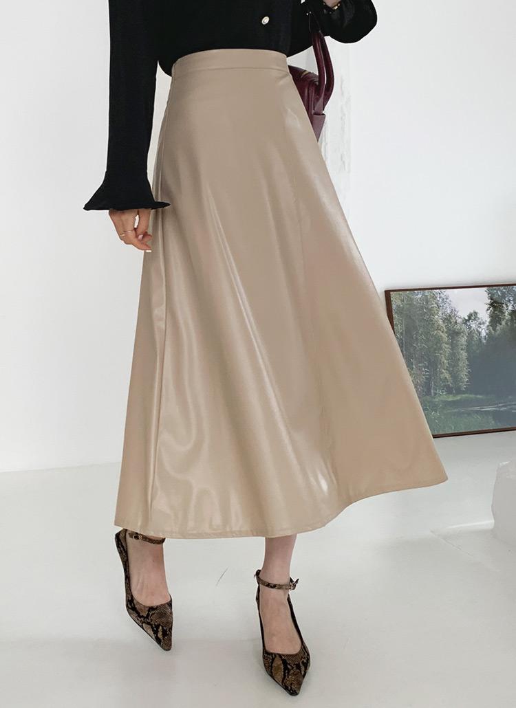レザー調Aラインスカート・全3色