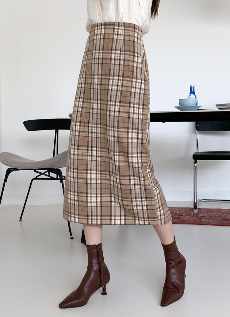 チェックIラインスカート・全2色