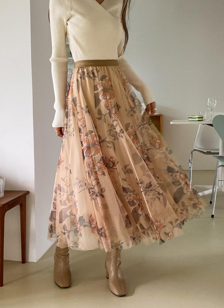 チュールフローラルスカート・全3色