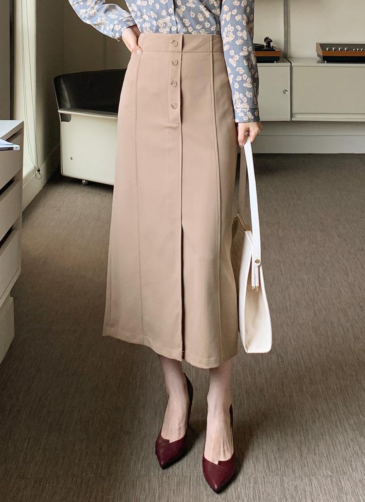 バックゴムボタンHラインスカート・全2色