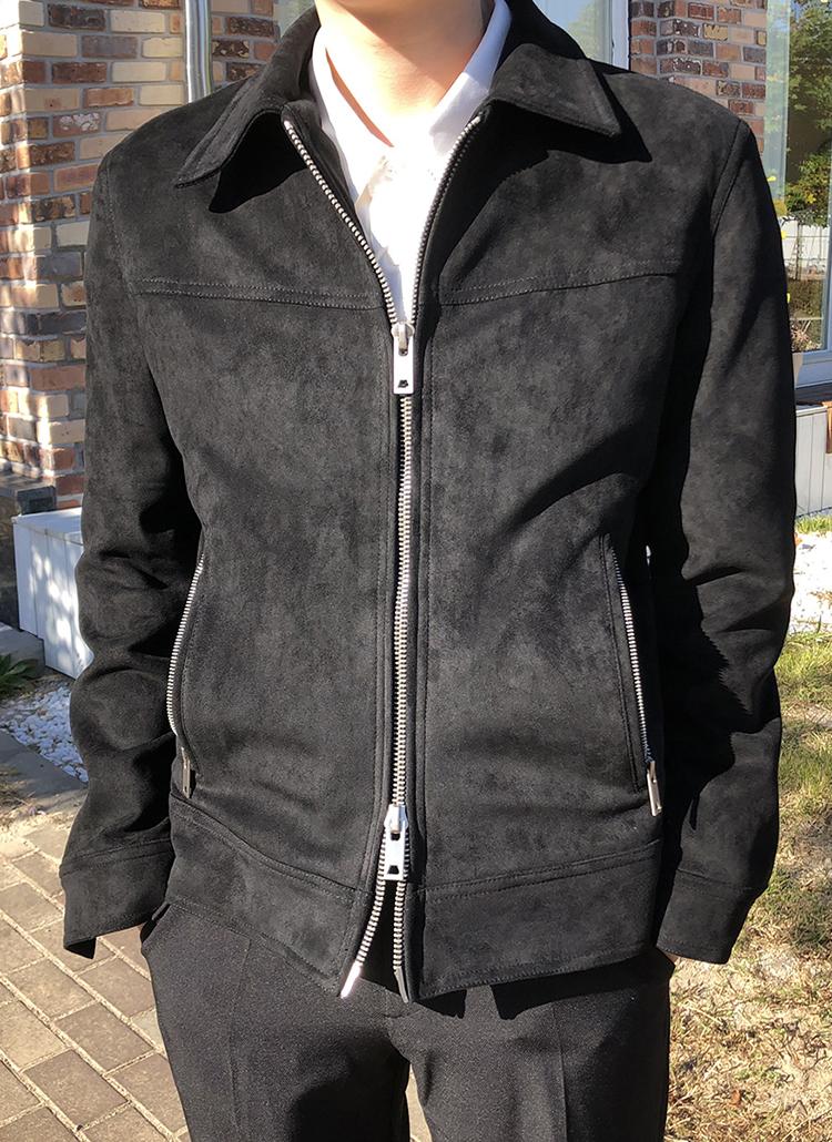 スエード調カラーネックジャケット