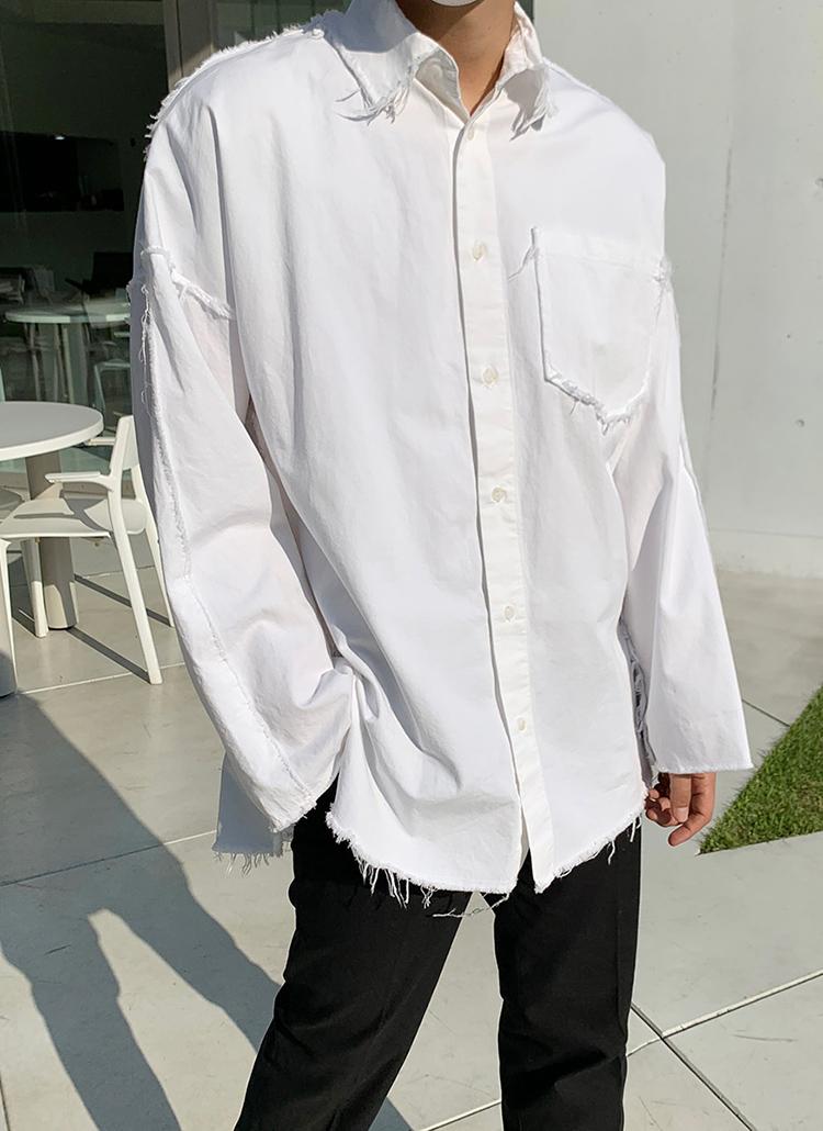 ダメージカラーネックシャツ