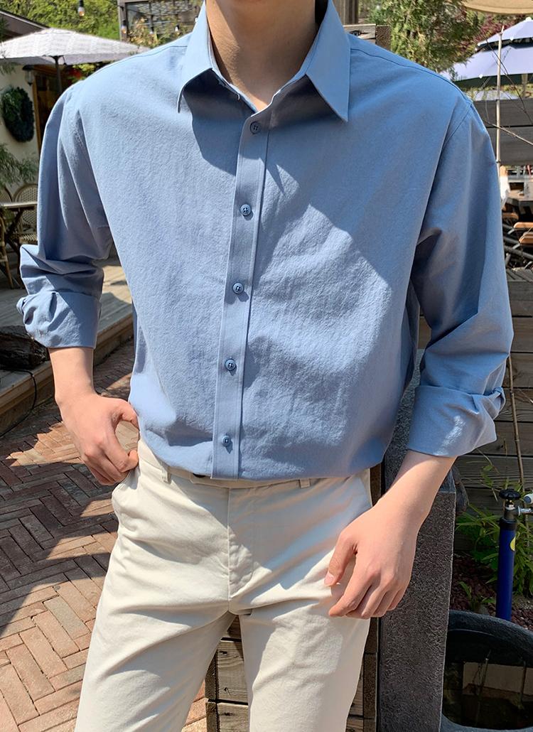 カフスボタンカラーネックシャツ