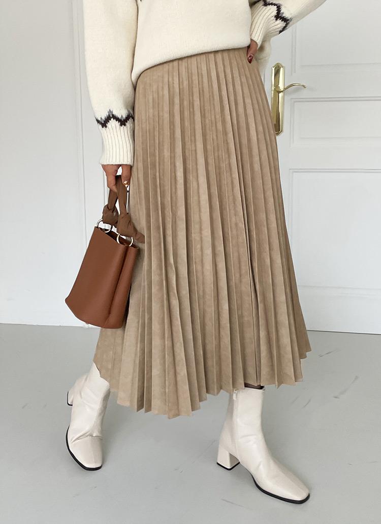 レザー調プリーツスカート・全3色