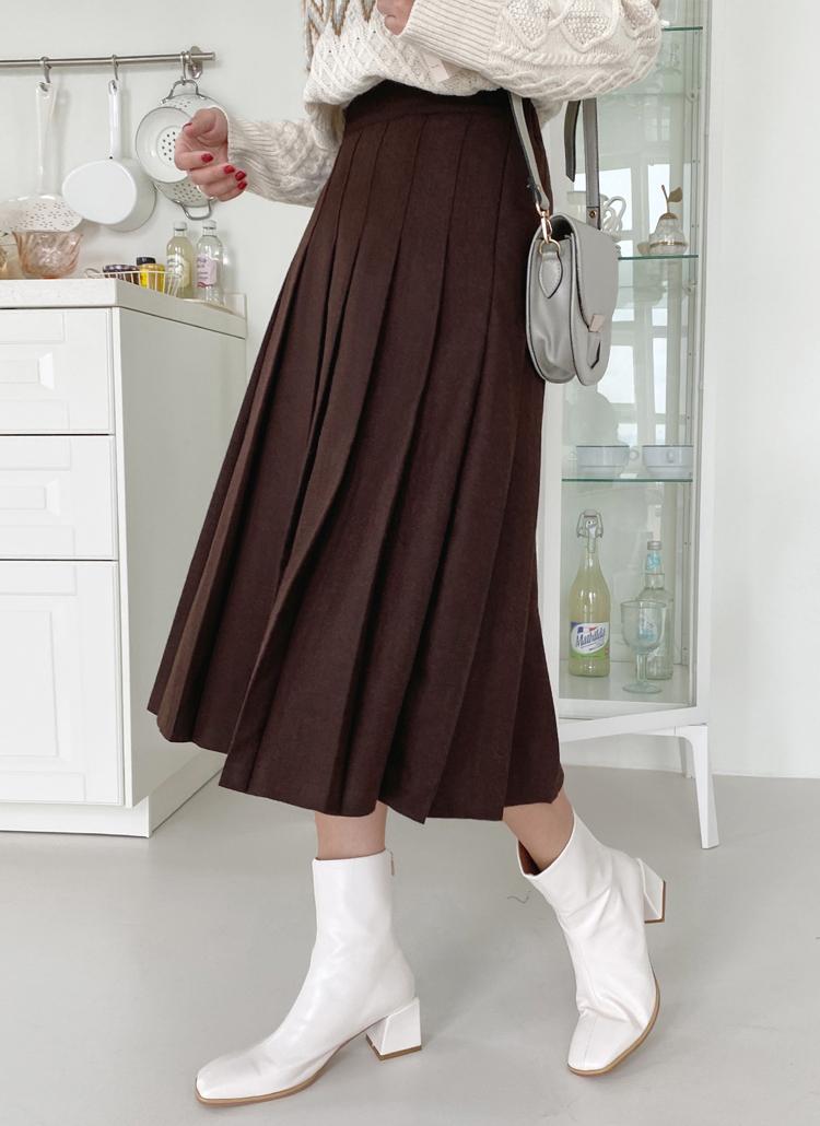 ウール混プリーツスカート・全2色
