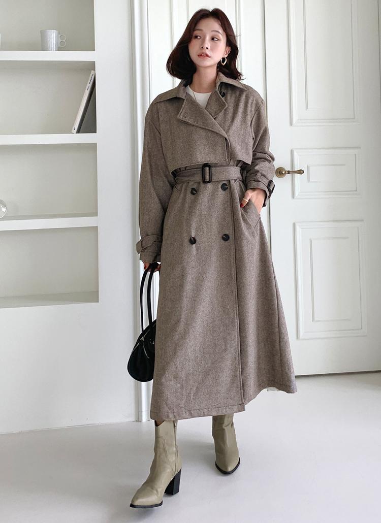ウール混ベルト付ヘリンボーンコート・全2色