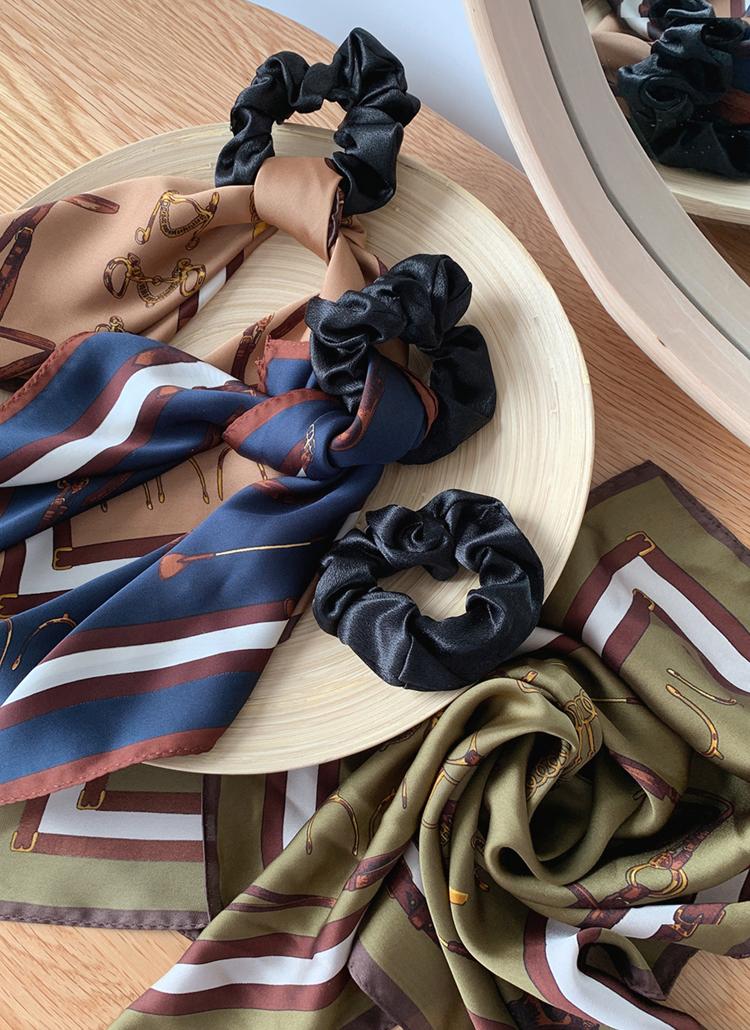 パターンスカーフ付シュシュ・全3色